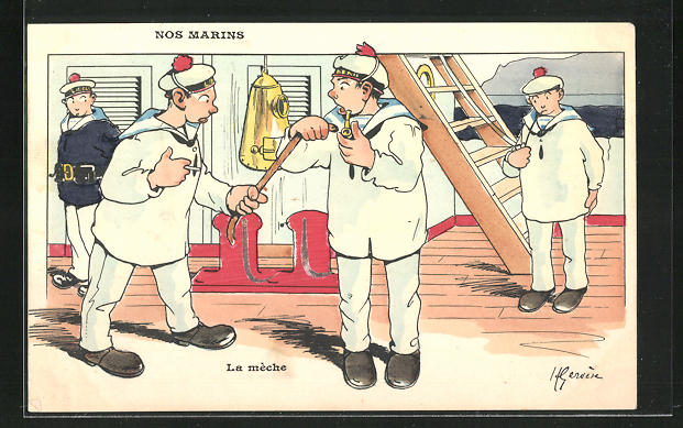 Künstler-AK Henri Gervèse: Nos Marins, Le méche
