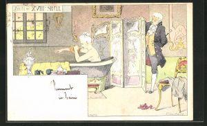Künstler-AK Ernest Lessieux: Bain au XVII e Siecle, Mann beobachtet Frau beim Baden