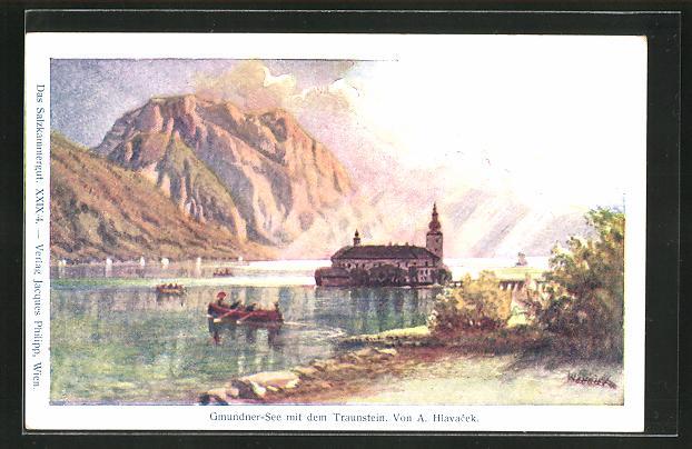 Künstler-AK Anton Hlavacek: Gmundner-See mit dem Traunstein