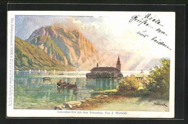Künstler-AK Anton Hlavacek: Gmundner See mit dem Traunstein