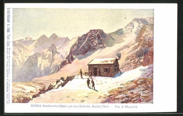 Künstler-AK Anton Hlavacek: Innsbrucker Hütte auf dem Habicht in Stubai