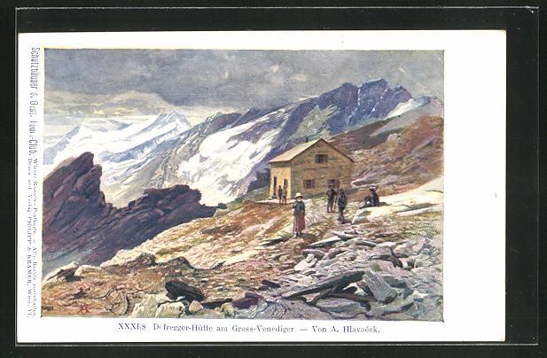 Künstler-AK Anton Hlavacek: Defregger-Hütte am Gross-Venediger
