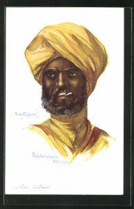 Künstler-AK Em. Dupuis: Pasehendaele, Carolerie indienne, Mann mit Turban im Portrait