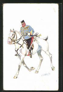 Künstler-AK Fritz Schönpflug: dicker Soldat in Uniform reitet auf einem Pferd