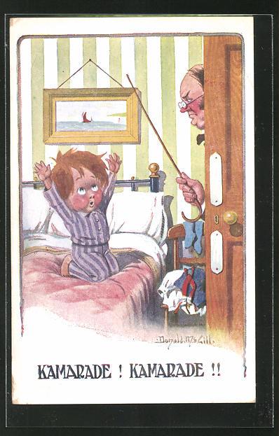 Künstler-AK Donald McGill: Kamarade! Kamarade!, Mann erwischt Knaben im Bett