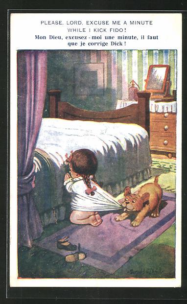 Künstler-AK Donald McGill: Please, Lord, excuse me a minute while I kick Fido!, betendes Mädchen am Bett