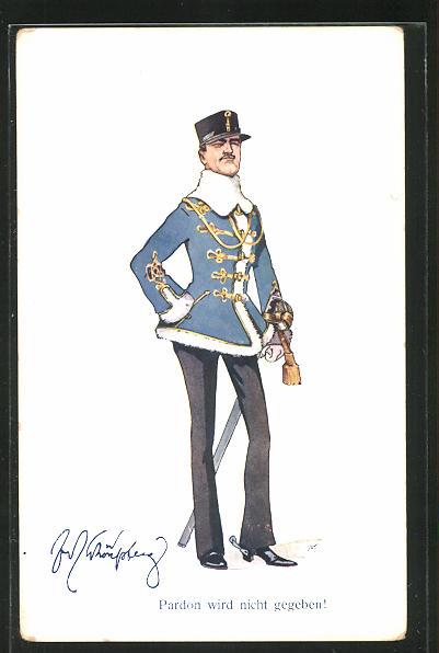 Künstler-AK Fritz Schönpflug: Pardon wird nicht gegeben. Soldat in Uniform mit Pelz