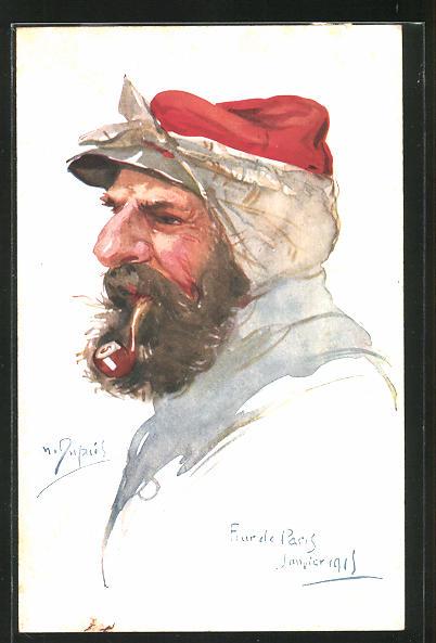 Künstler-AK Em. Dupuis: Soldat mit Pfeife und verbundenem Ohr im Profil, Fourele Paris 1915