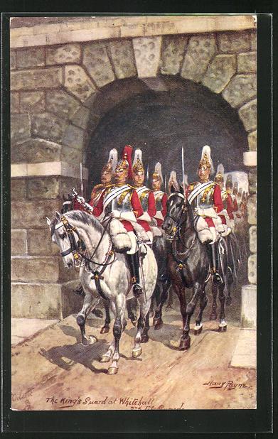 Künstler-AK Harry Payne: The Kings Guard at Whitehall, Soldaten