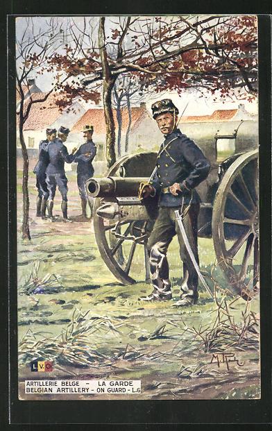 AK Artillerie Belge, la Garde, belgischer Soldat am Geschütz