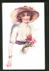 Künstler-AK Suzanne Meunier: Junge Frau mit Hut und Rosen