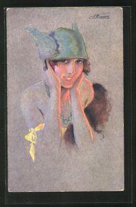 Künstler-AK Suzanne Meunier: Minois de parisienne, Dame mit Hermeshelm und Perlenkette