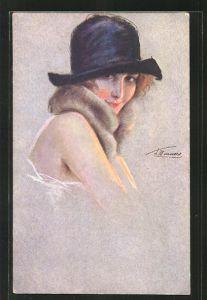 Künstler-AK Suzanne Meunier: Minois de parisiennes, Dame mit Pelz und Hut