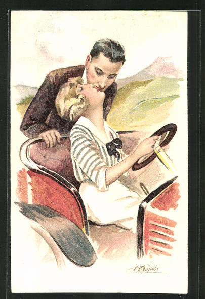 Künstler-AK Suzanne Meunier: Amours, Delices...et Autos, Kuss im Auto