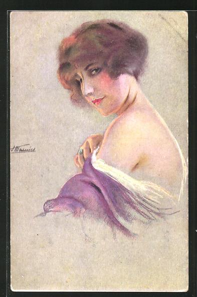 Künstler-AK Suzanne Meunier: Nos Montmartroises, Dame mit entblösster Schulter