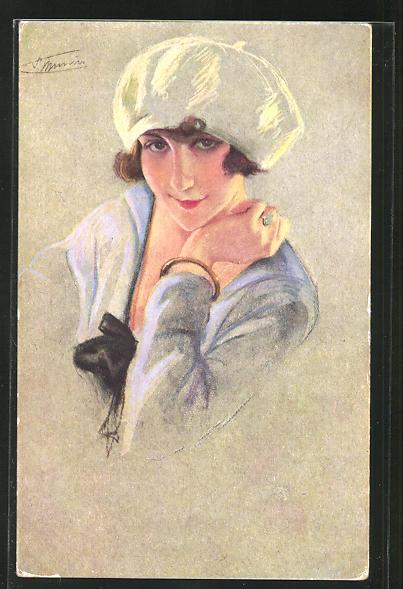 Künstler-AK Suzanne Meunier: Nos Montmartroises, junge Frau mit weissem Stöpselhut