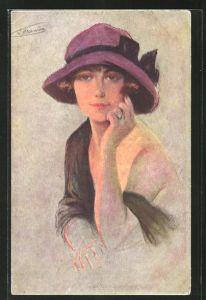 Künstler-AK Suzanne Meunier: Nos Montmartroises, Dame mit Hut zeigt ihre Schulter
