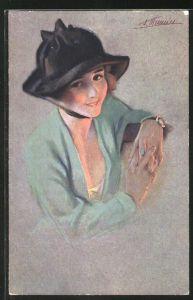 Künstler-AK Suzanne Meunier: Minois de parisiennes, junge Fra mit Hut und Armbanduhr
