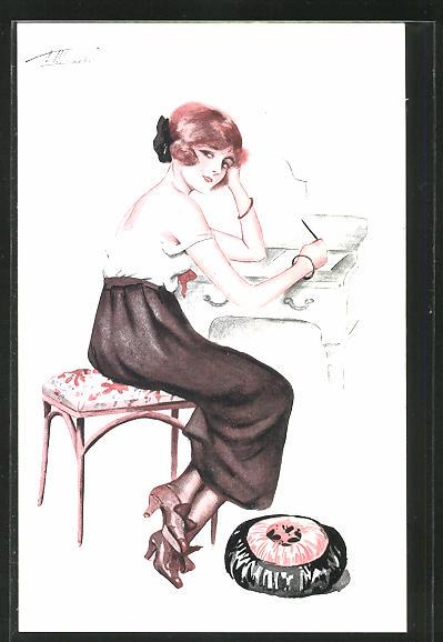 Künstler-AK Suzanne Meunier: Decolletes parisiens, junge Frau am Schreibtisch