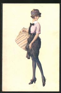 Künstler-AK Suzanne Meunier: Parisian Girls, junge modische Frau in Pumps mit Hutschachtel