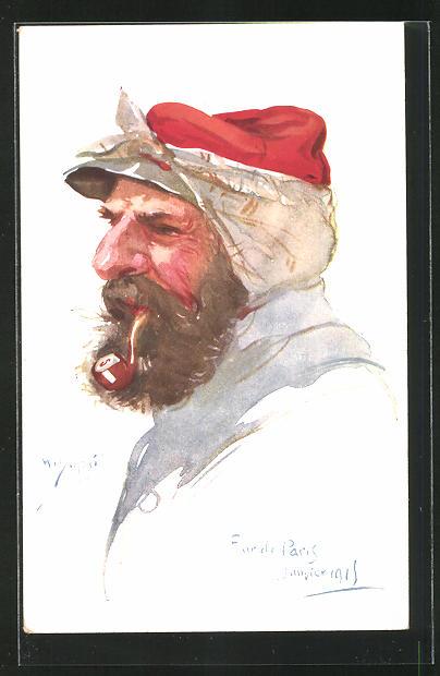 Künstler-AK Em. Dupuis: Portrait alter Soldat mit Pfeife im Profil, Four de Paris Janvier 1915