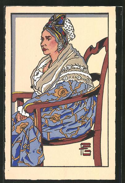 Künstler-AK Geo-Fourrier: Arlesienne portant le costume des Aieules (1850)