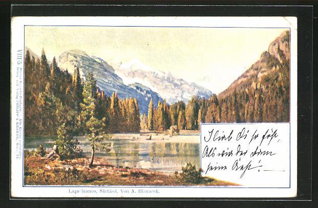 Künstler-AK Anton Hlavacek: Lago bianco, Partie am See in Südtirol