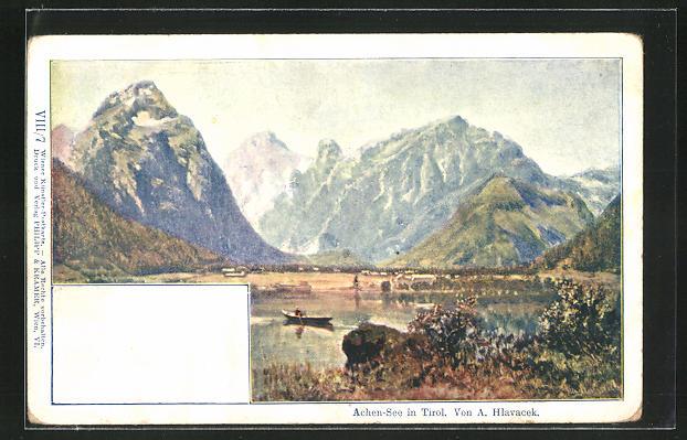 Künstler-AK Anton Hlavacek: Achen-See, Partie am See in Tirol