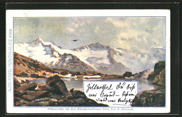 Künstler-AK Anton Hlavacek: Schwarz-See mit den Zillertaler Alpen, Tirol