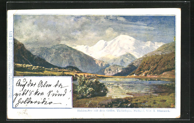 Künstler-AK Anton Hlavacek: Haiden-See mit dem Ortler, Vintschgau, Südtirol