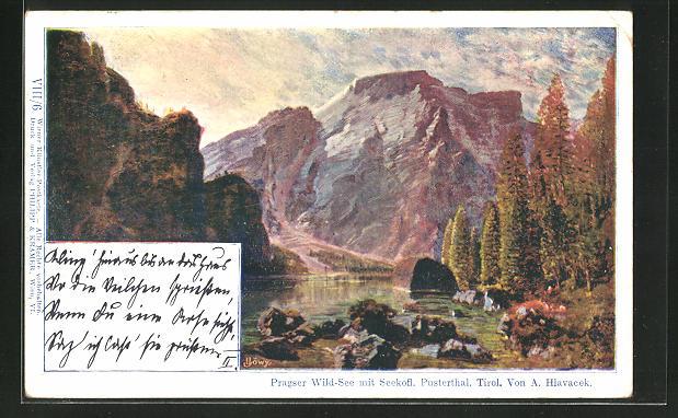 Künstler-AK Anton Hlavacek: Pragser Wild-See mit Seekofl, Pustertal, Tirol