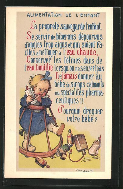 Künstler-AK Francisque Poulbot: Alimentation de l'Enfant, Kleinkind im Gehfrei