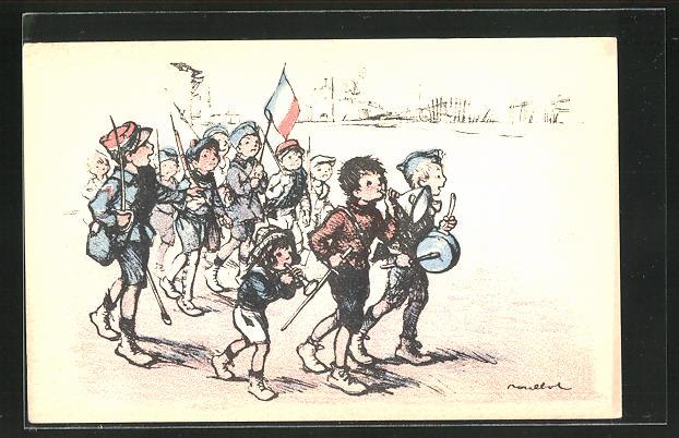 Künstler-AK Francisque Poulbot: Kindersoldaten im Marsch