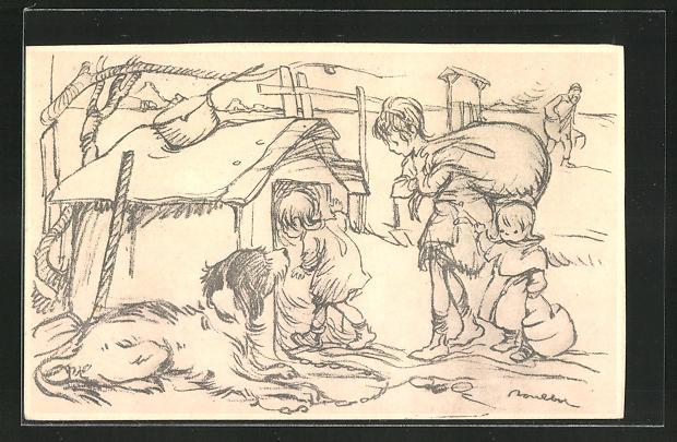 Künstler-AK Francisque Poulbot: Kinder im Krieg ziehen in eine Hundehütte