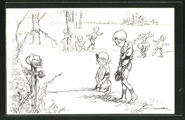 Künstler-AK Francisque Poulbot: Trauernde Kinder am Kriegsgrab