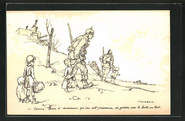 Künstler-AK Francisque Poulbot: Französische Kinder lassen sich von deutschen Soldaten gefangennehmen