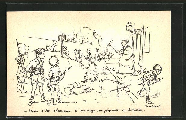 Künstler-AK Francisque Poulbot: Frau verjagt Kinder die Krieg spielen von ihrem Grundstück