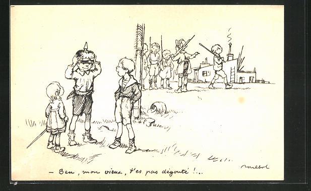 Künstler-AK Francisque Poulbot: Französische Kinder mit deutscher Pickelhaube
