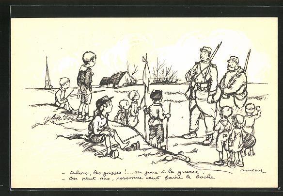 Künstler-AK Francisque Poulbot: Französische Kinder unterhalten sich mit Soldaten