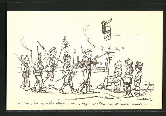 Künstler-AK Francisque Poulbot: Französische Kinder spielen Krieg