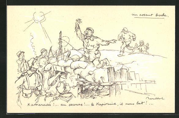 Künstler-AK Francisque Poulbot: Französische Soldaten schreien um Hilfe