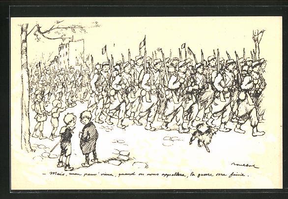 Künstler-AK Francisque Poulbot: Französische Kinder beobachten den Auszug der Soldaten