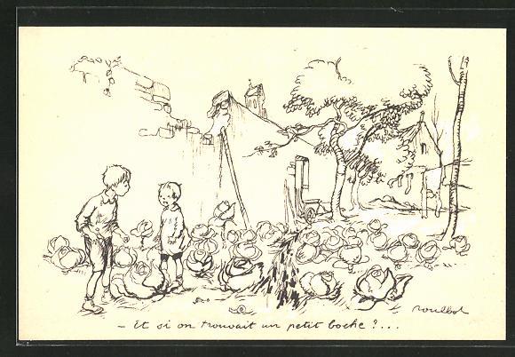 Künstler-AK Francisque Poulbot: Französische Kinder stehlen Kohlköpfe