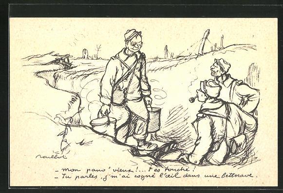 Künstler-AK Francisque Poulbot: Französische Soldaten im Schützengraben