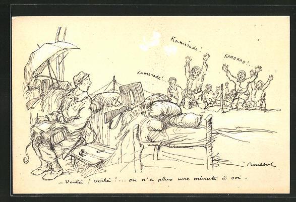 Künstler-AK Francisque Poulbot: Deutsche Soldaten ergeben sich den Franzosen