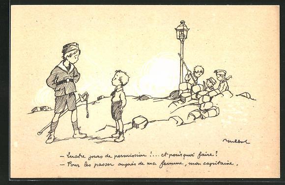 Künstler-AK Francisque Poulbot: Französische Kinder spielen Krieg, Aufräumarbeiten