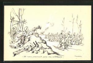 Künstler-AK Francisque Poulbot: Deutsche Soldaten halten französische Kinder für die Artillerie und ergeben sich
