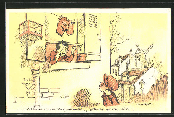 Künstler-AK Francisque Poulbot: Französische Kinder unterhalten sich am Fenster