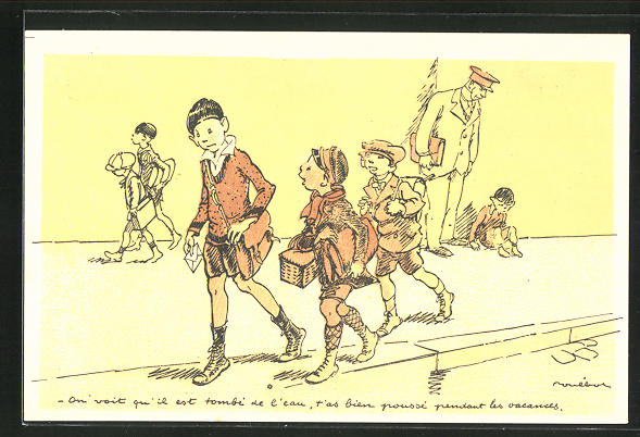 Künstler-AK Francisque Poulbot: Französische Kinder bringen einen Brief zur Post