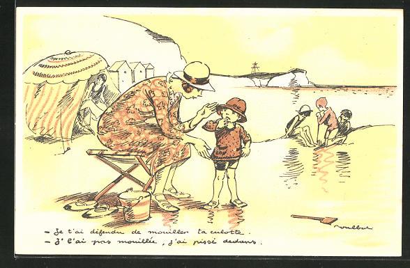 Künstler-AK Francisque Poulbot: Französin mit ihren Kindern am Strand